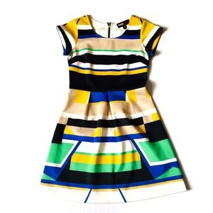 Miss 60 Colorblock Bold Geometric Print Dress Sz 4